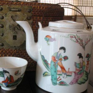 Vintage Accents - Vintage Chinese Tea Set in Basket Pot and Cups
